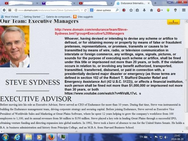 Steve is now Executive Advisor 18 USC 1343